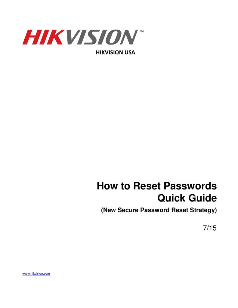 HIKVISION USA How to Reset Passwords Quick Guide | manualzz com