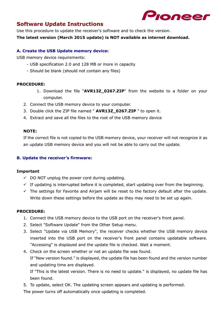Software Update Instructions | manualzz com