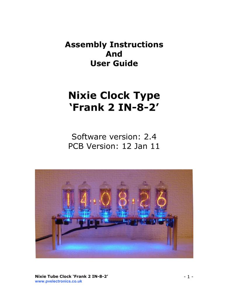 Nixie Clock Type `Frank 2 IN-8-2` | manualzz com