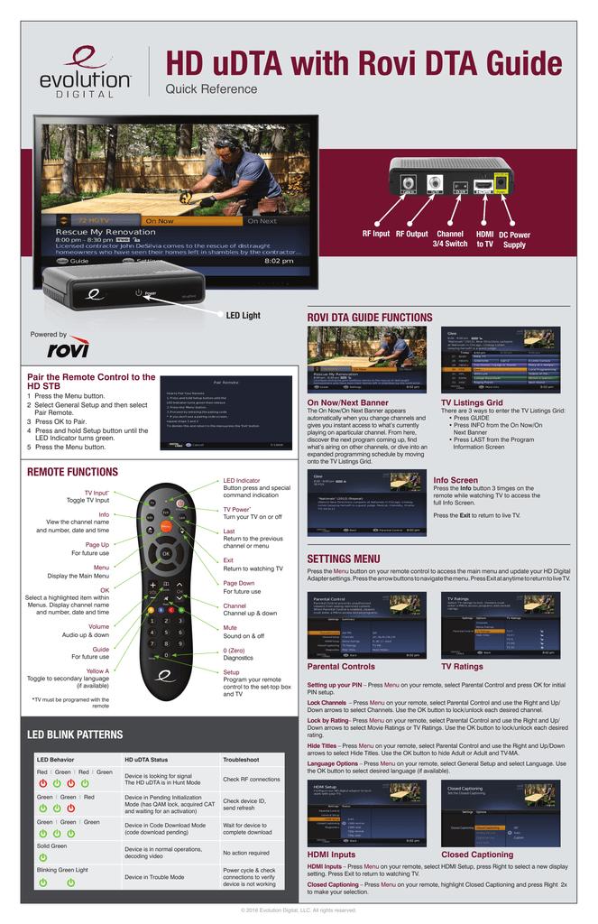HD uDTA with Rovi DTA Guide | manualzz com