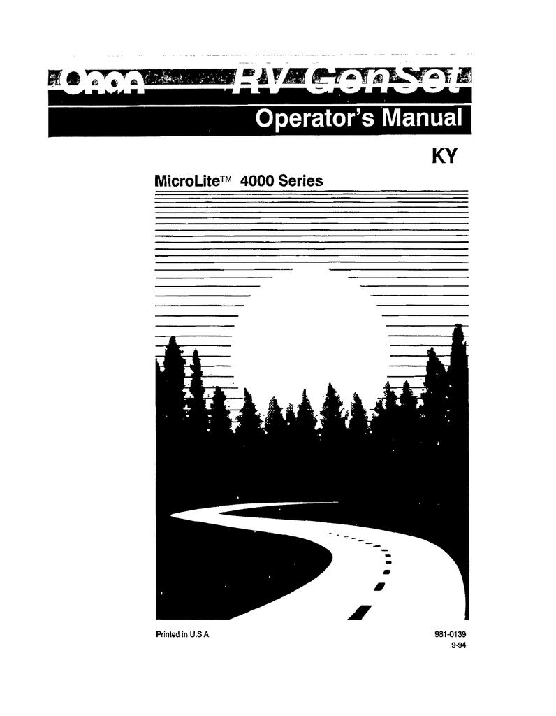 981-0139 Onan KY Microlite 4000 Series RV Genset | manualzz.com on