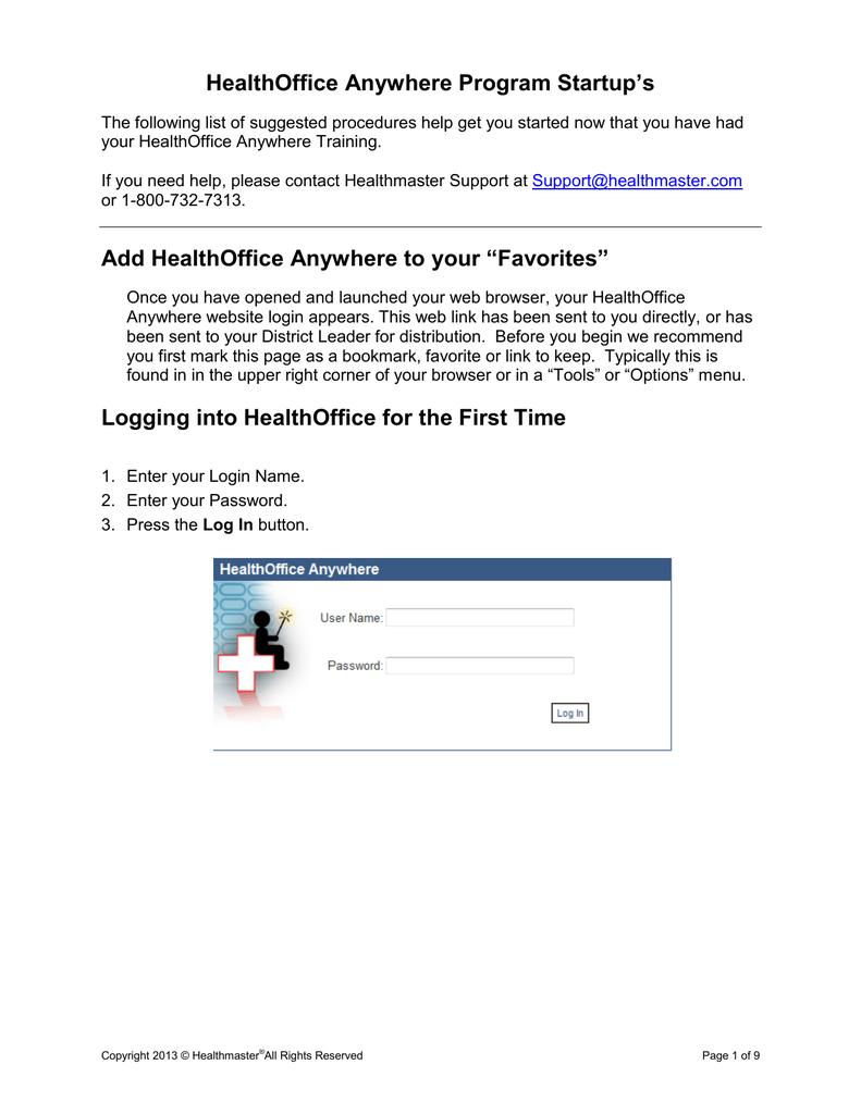 Healthoffice Program Startup S Manualzz