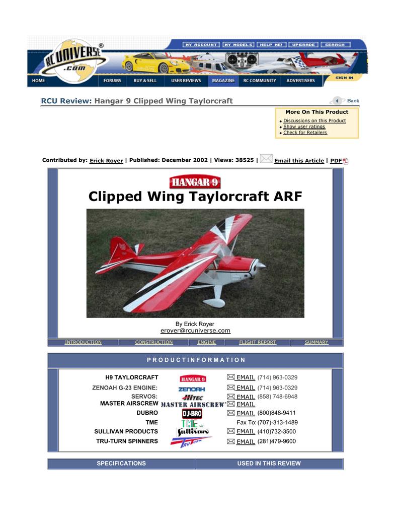 Clipped Wing Taylorcraft ARF   manualzz com