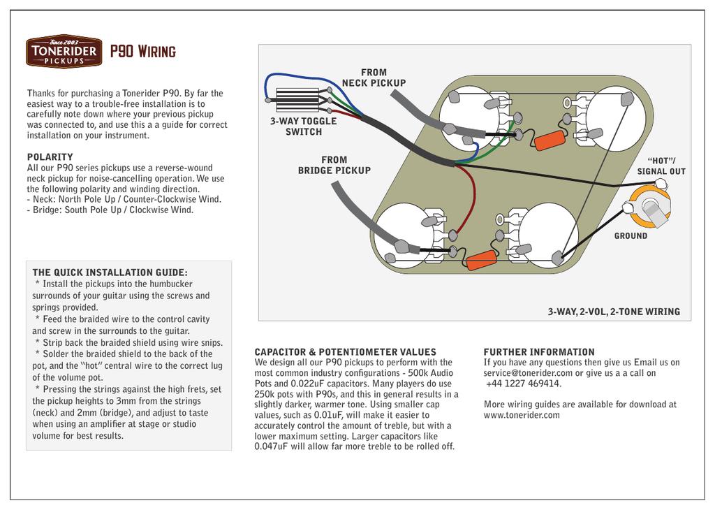 P90 Wiring Tonerider Manualzz, P90 Pickup Wiring Diagram
