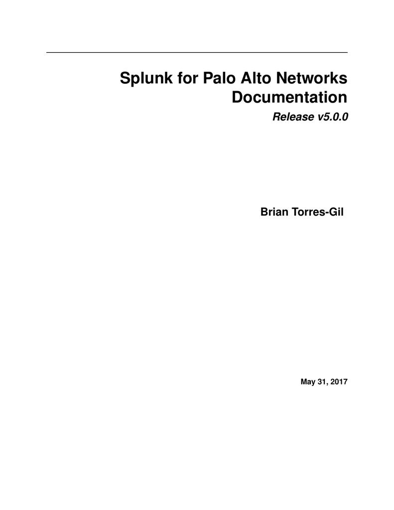 Splunk for Palo Alto Networks Documentation | manualzz com