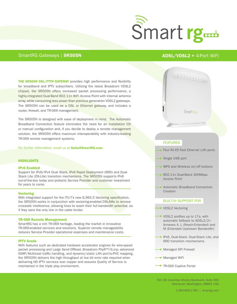SmartRG Gateways | SR505N ADSL/VDSL2 + 4 | manualzz com
