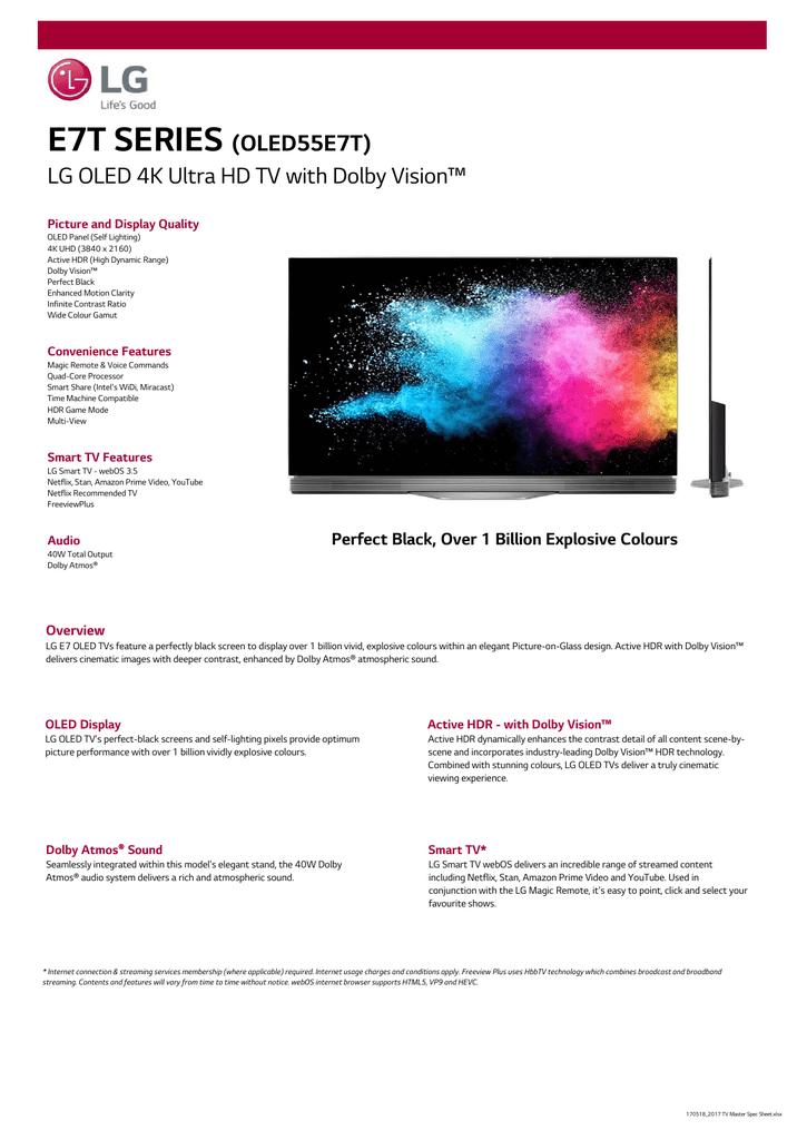 E7T SERIES (OLED55E7T) LG OLED 4K Ultra HD TV with Dolby