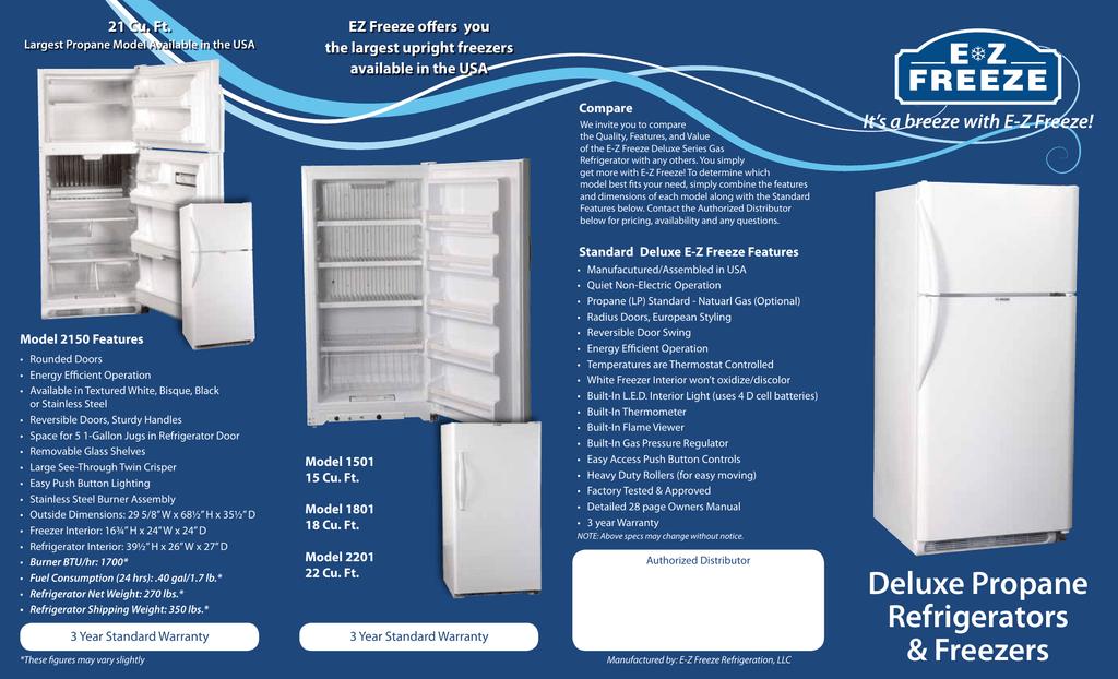 Propane Refrigerator For Sale >> The Ez Freeze Brochure Propane Refrigerators For Sale