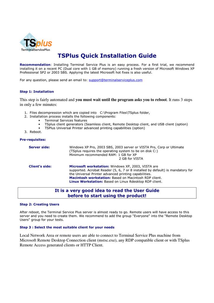 TSPlus Quick Installation Guide | manualzz com