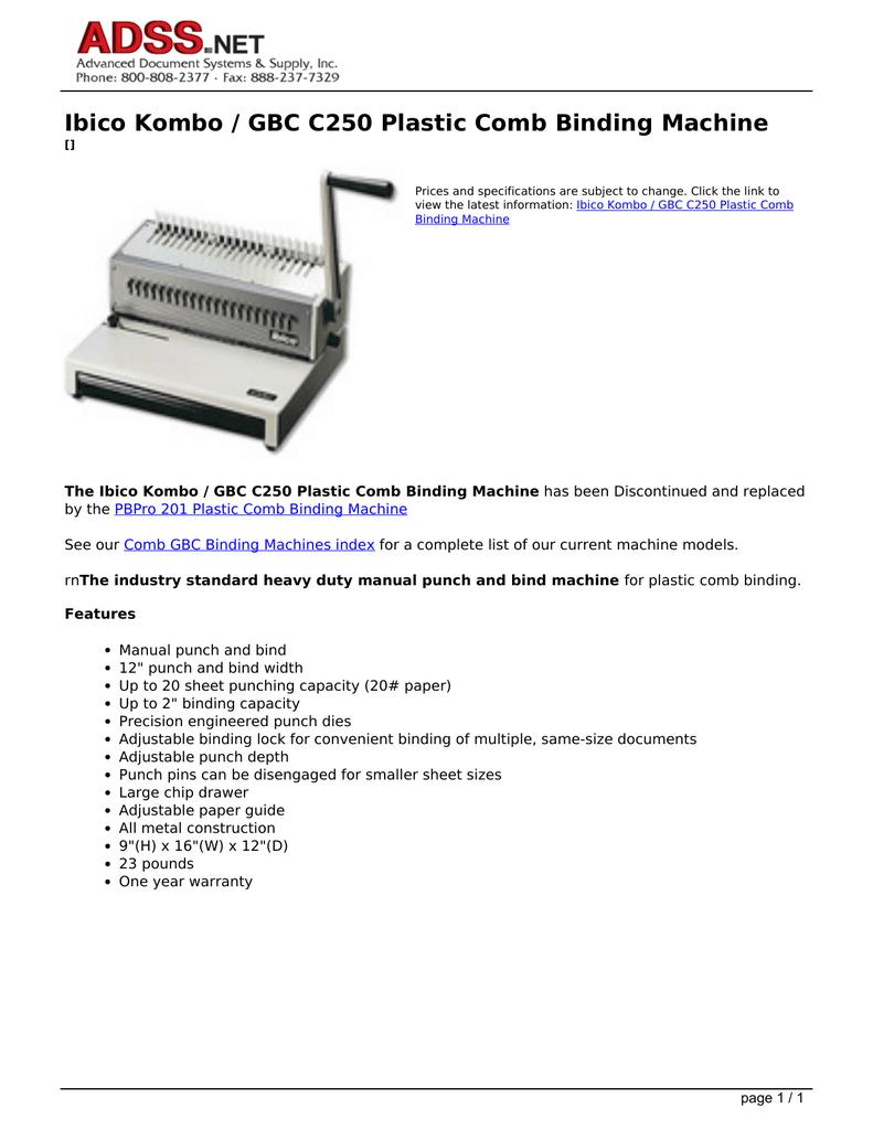 Ibico Kombo / GBC C250 Plastic Comb Binding Machine | manualzz com
