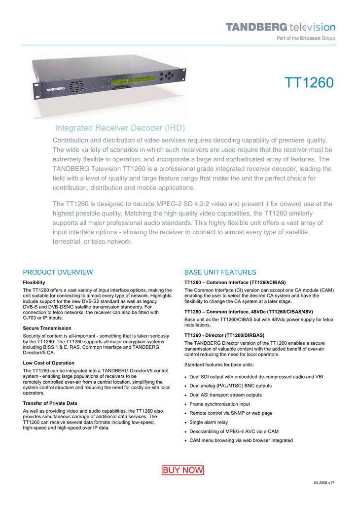 TANDBERG TT1260 Professional IRD   manualzz com