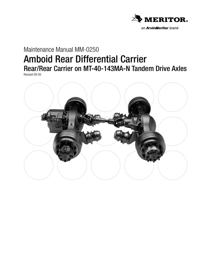 Meritor - Rear Tandem Drive Axles Maintenance Manual