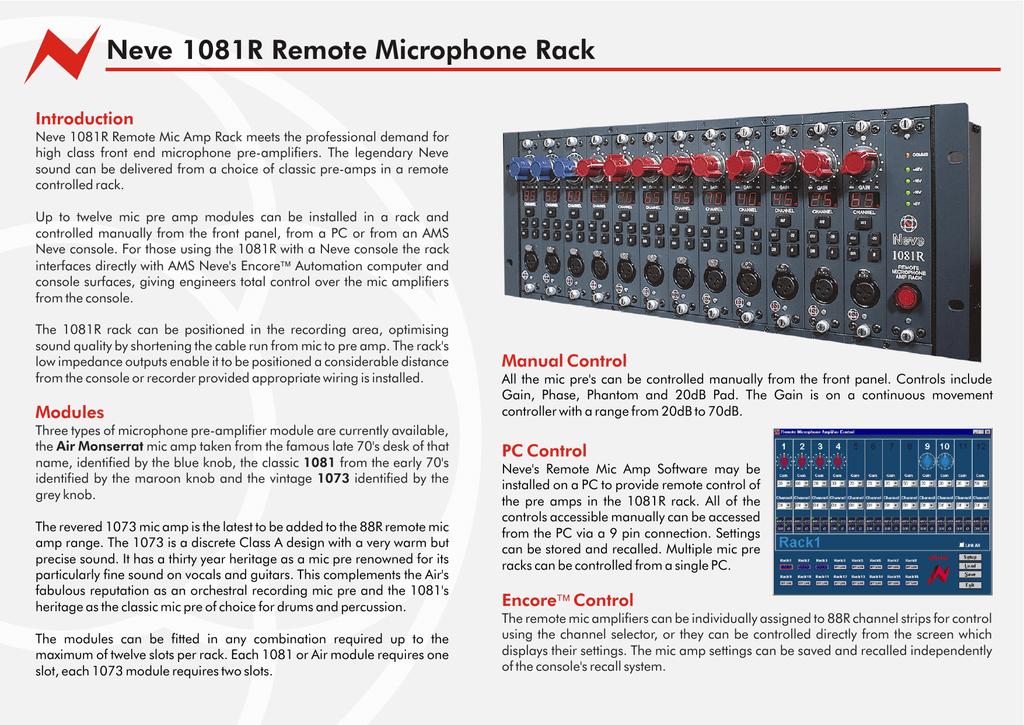 Neve 1081R Remote Microphone Rack   manualzz com