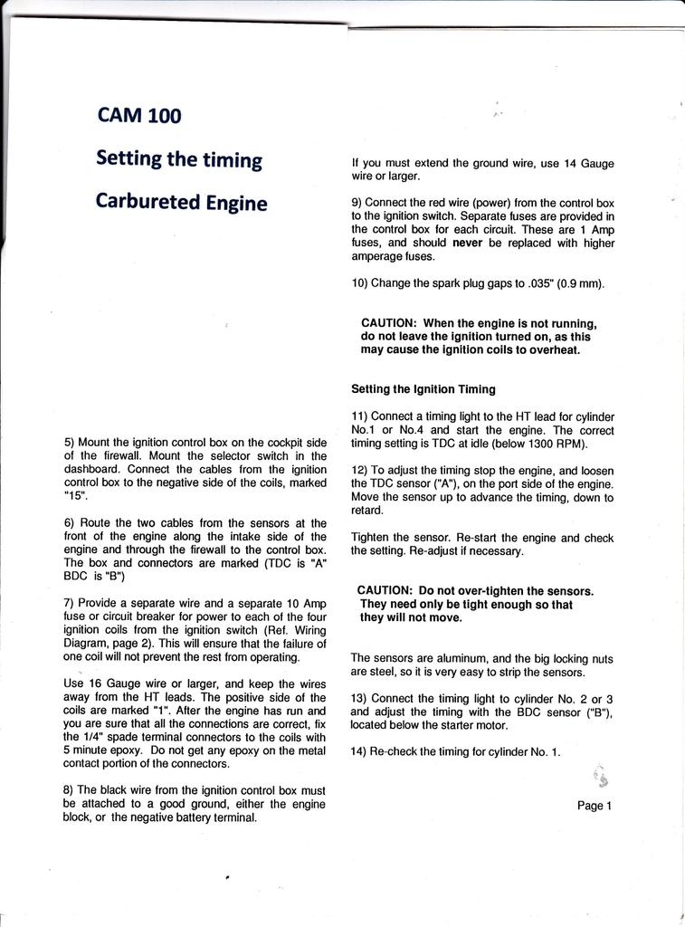 timing light wiring diagram cam100 setting timing manualzz  cam100 setting timing manualzz