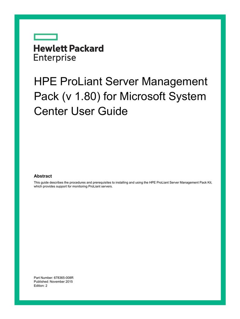 HPE ProLiant Server Management Pack (v 1 80) for Microsoft
