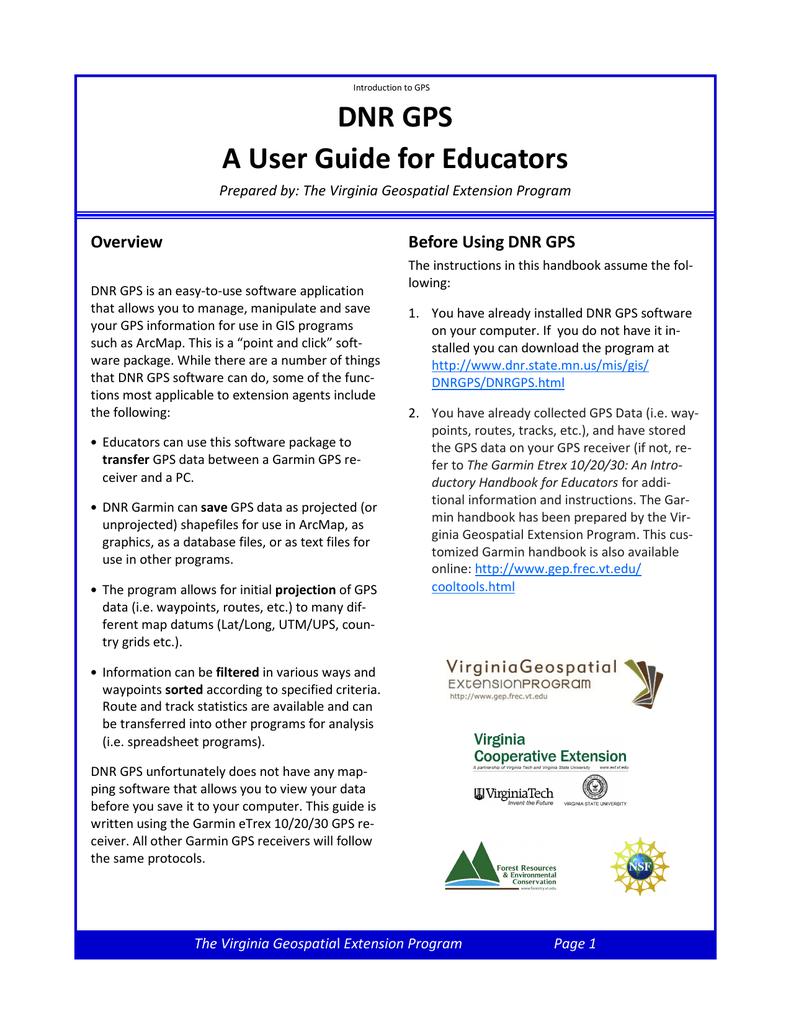 DNR GPS manual - Virginia Geospatial Extension Program