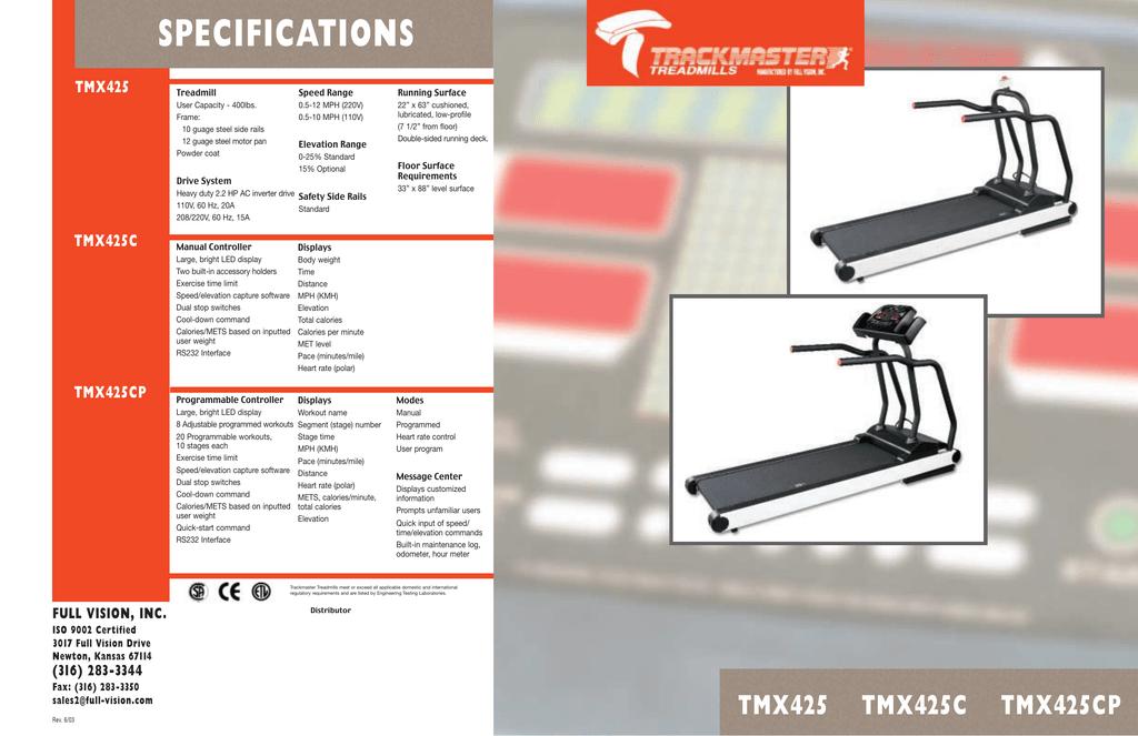 Trackmaster TMX425 Treadmill Brochure | manualzz com