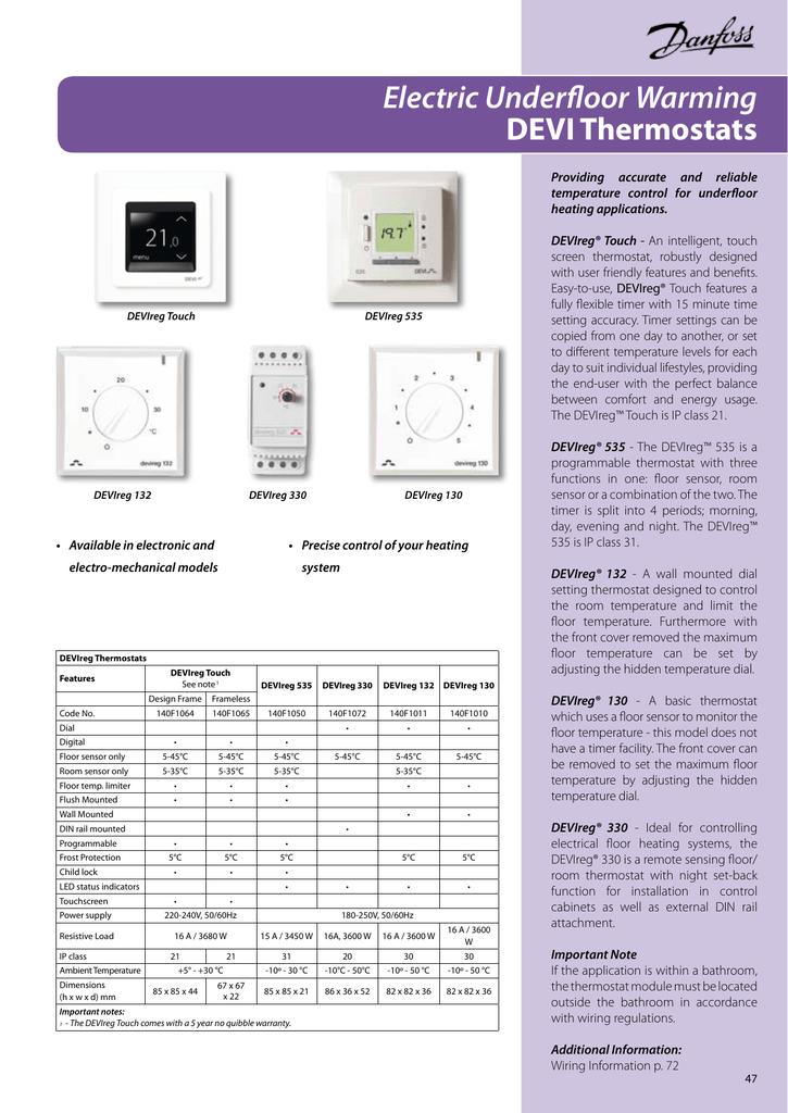 [SCHEMATICS_43NM]  Electric Underfloor Warming DEVI Thermostats   Manualzz   Devi Underfloor Heating Wiring Diagram      manualzz