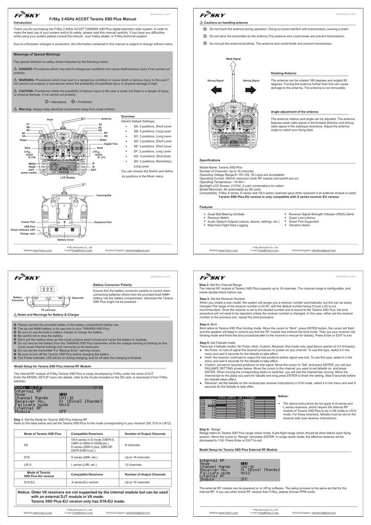 Taranis plus manual | manualzz com