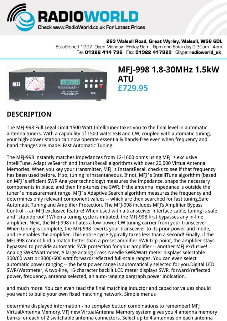 MFJ MFJ998 1.5kW 1.8-30MHz AUTO TUNER with METER//LCD DISPLAY