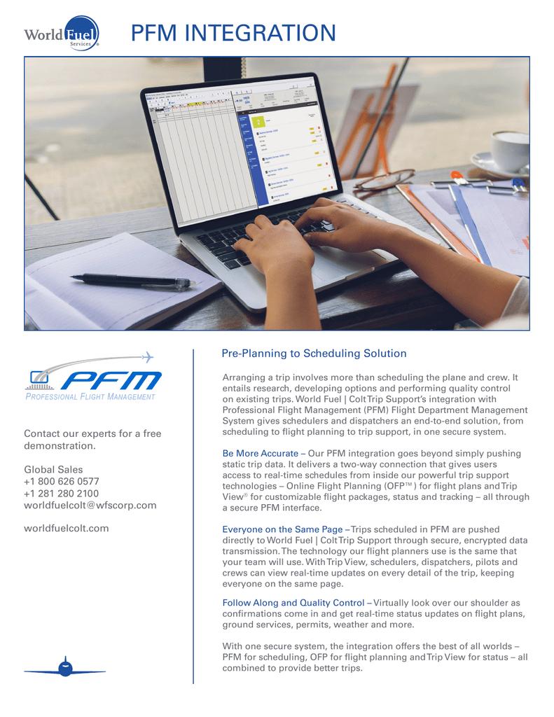 PFM | World Fuel Colt Trip Support | Scheduling Software Integration