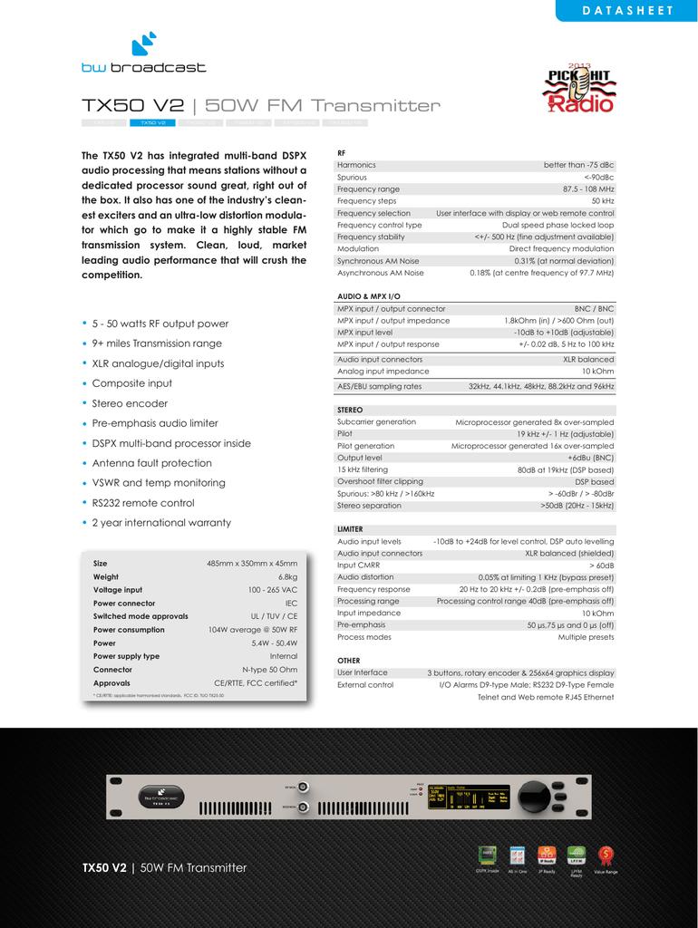 Tx50 V2 50w Fm Transmitter Am Modulator And Rf Output Stage