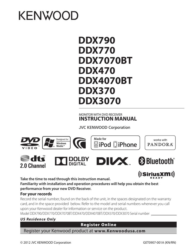 DDX790 DDX770 DDX7070BT DDX470 DDX4070BT DDX370 | manualzz com