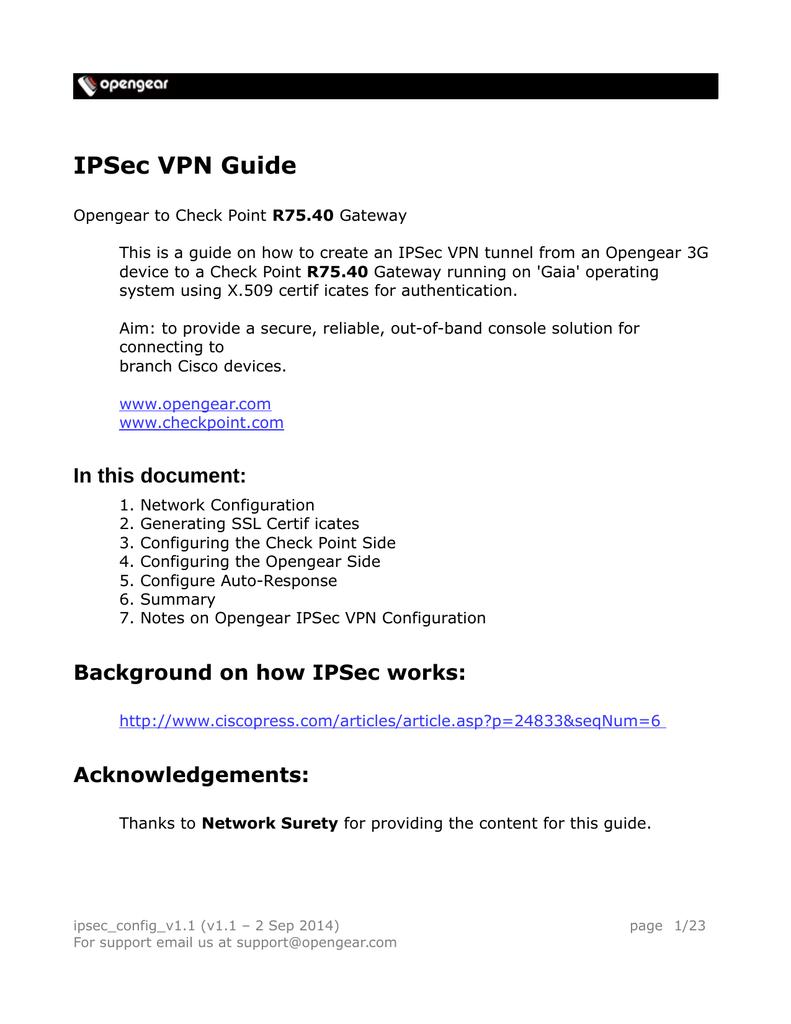 IPSec VPN Guide - Opengear Help Desk | manualzz com