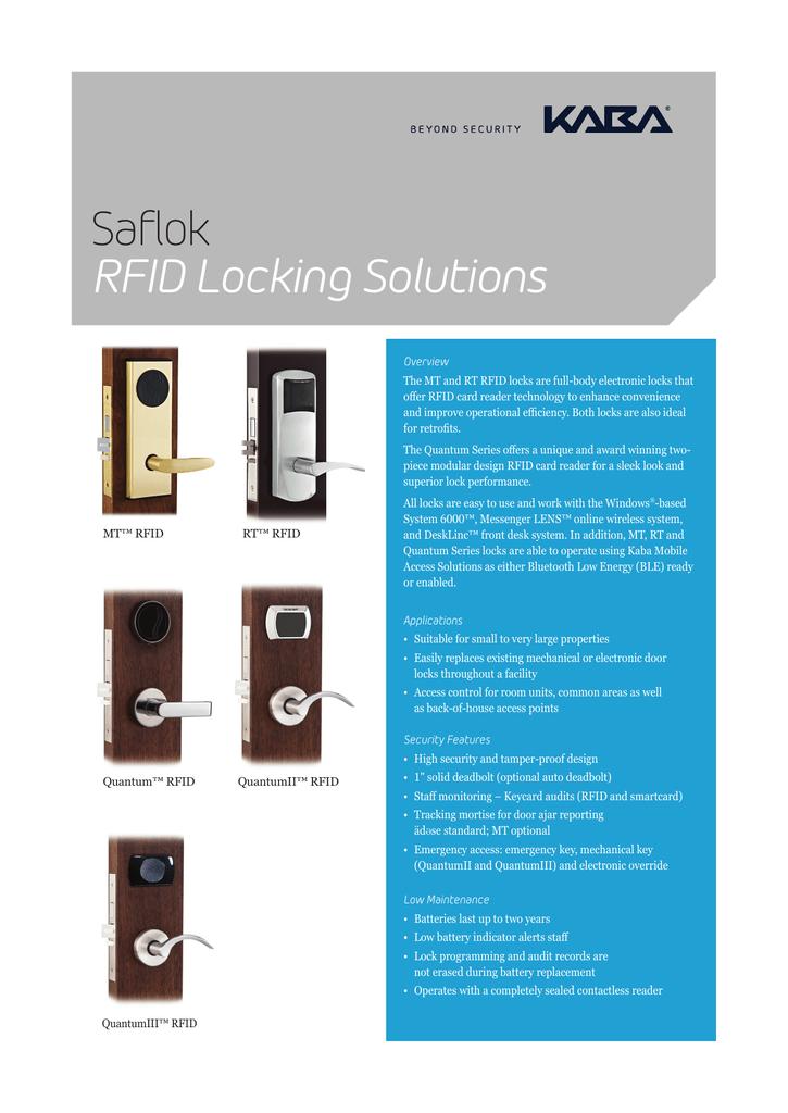 Saflok RFID Locking Solutions | manualzz com