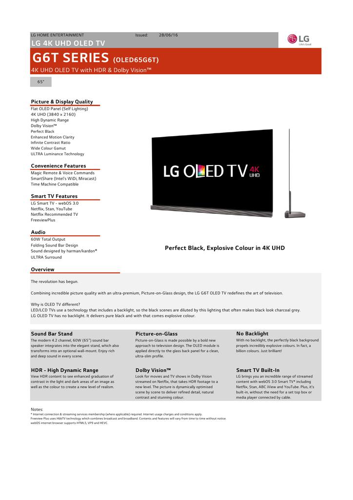 LG OLED65G6T Specification | manualzz com