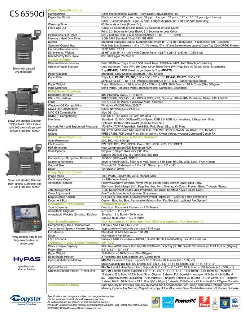 CS 6550ci - Copystar | manualzz com