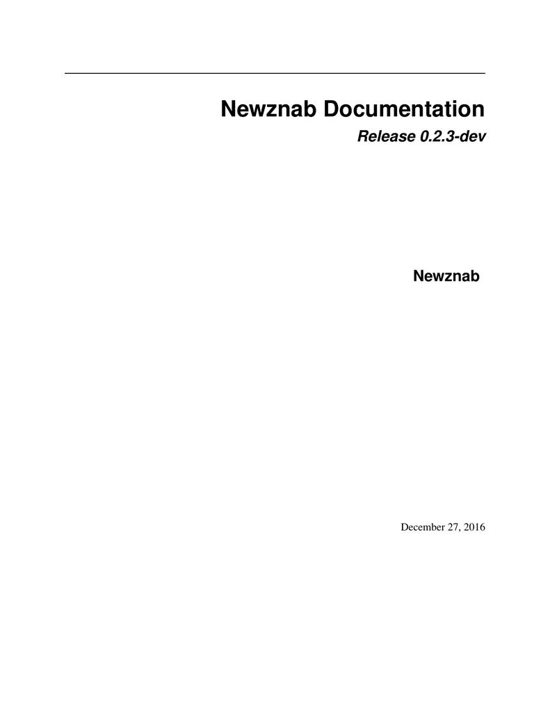 Newznab Documentation | manualzz com