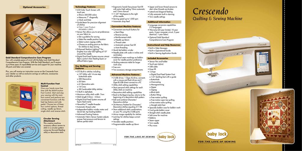 Crescendo - Baby Lock | manualzz com