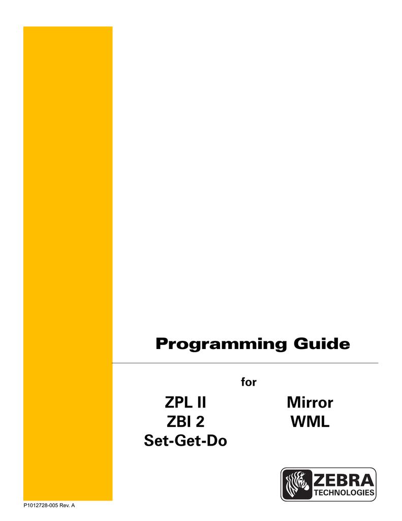 Zebra Programming Guide | manualzz com