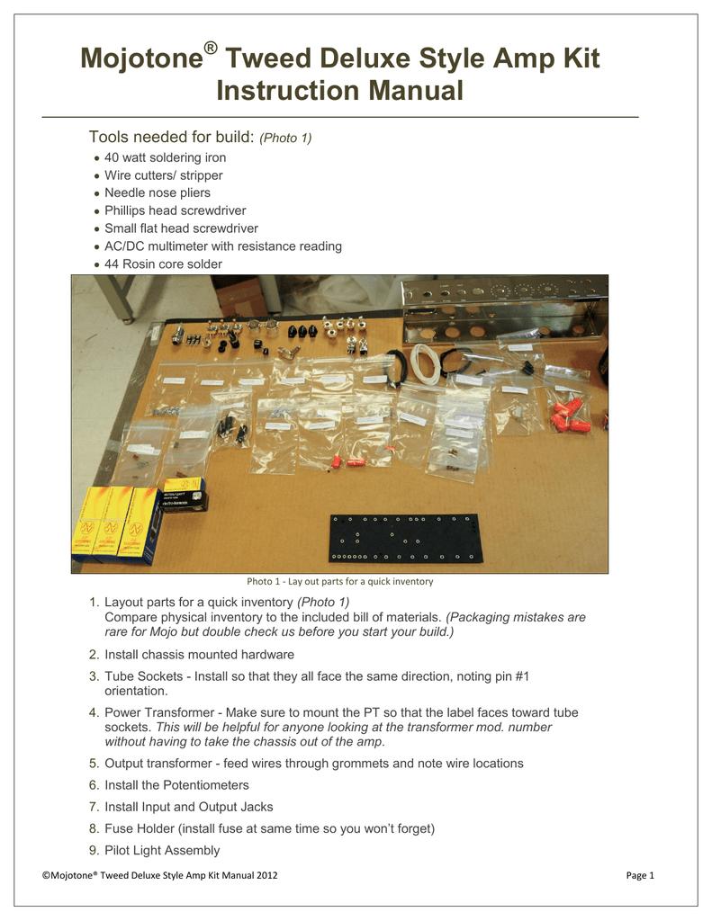 Mojotone Tweed Deluxe Style Amp Kit Instruction | manualzz com