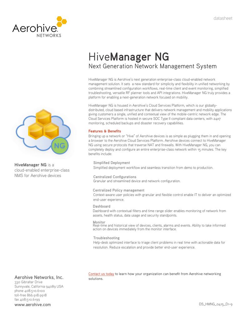 HiveManager NG - Aerohive Networks | manualzz com