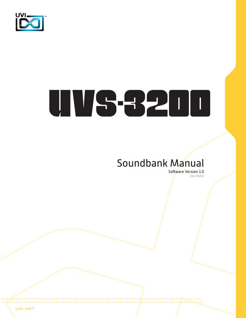 UVI UVS-3200 | Soundbank Manual | manualzz com
