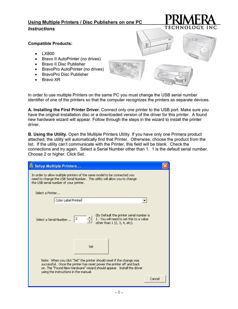 Instructions Using Multiple Printers / Disc Publishers on | manualzz com