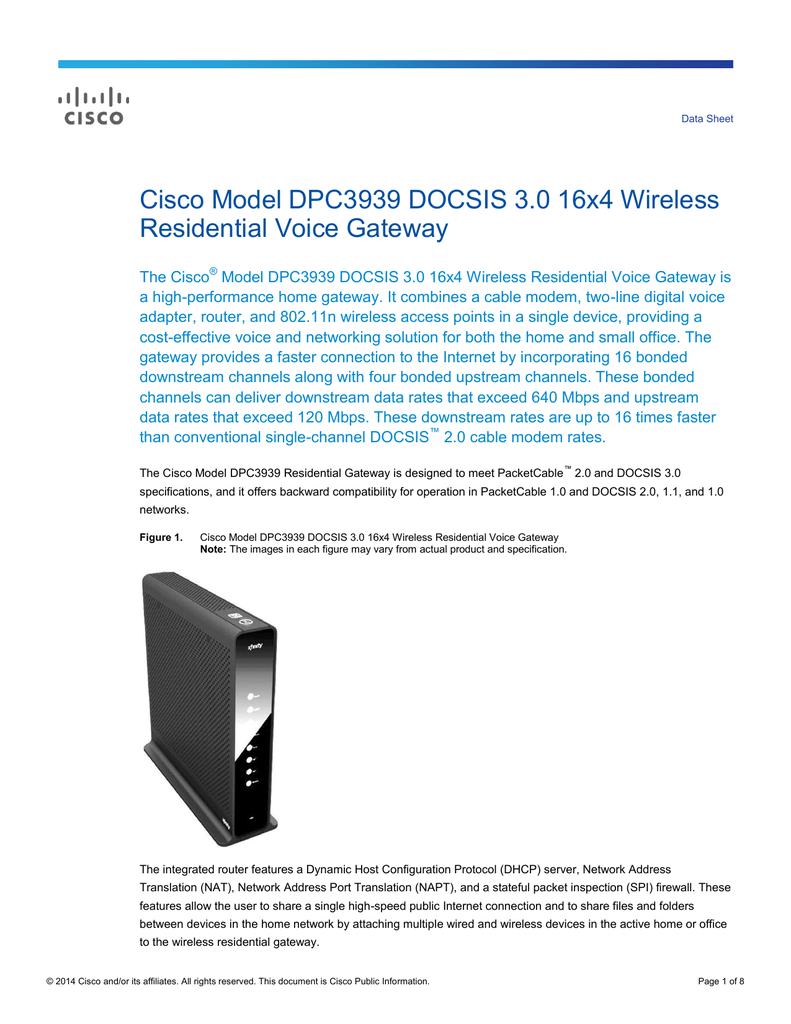 Cisco Model DPC3939 DOCSIS 3 0 16x4 Wireless | manualzz com