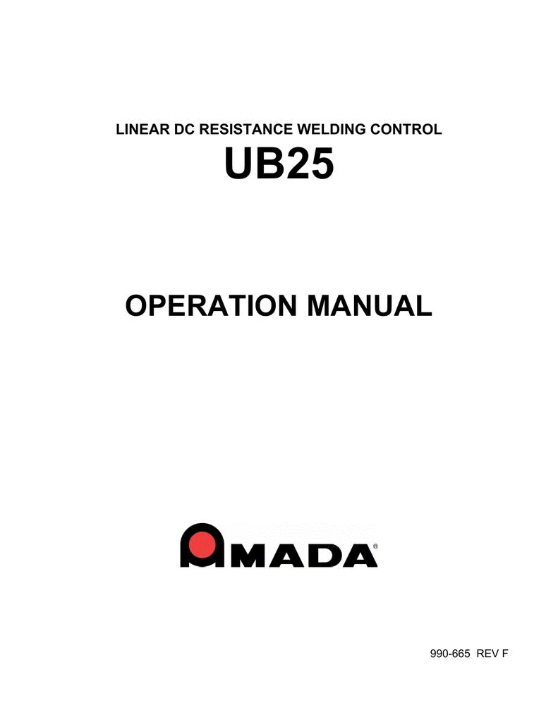 UB25 Technical Manual - AMADA MIYACHI AMERICA | manualzz com