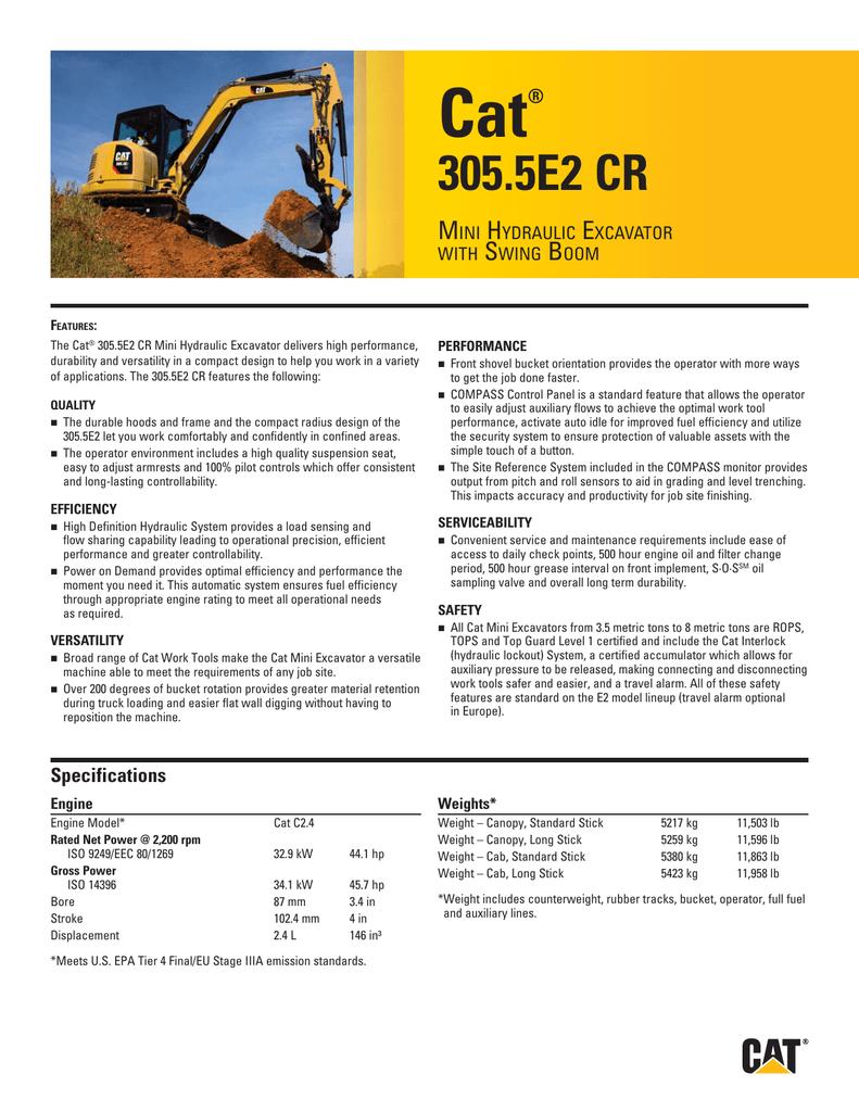Small Specalog for Cat 305 5E2 CR Mini Hydraulic   manualzz com