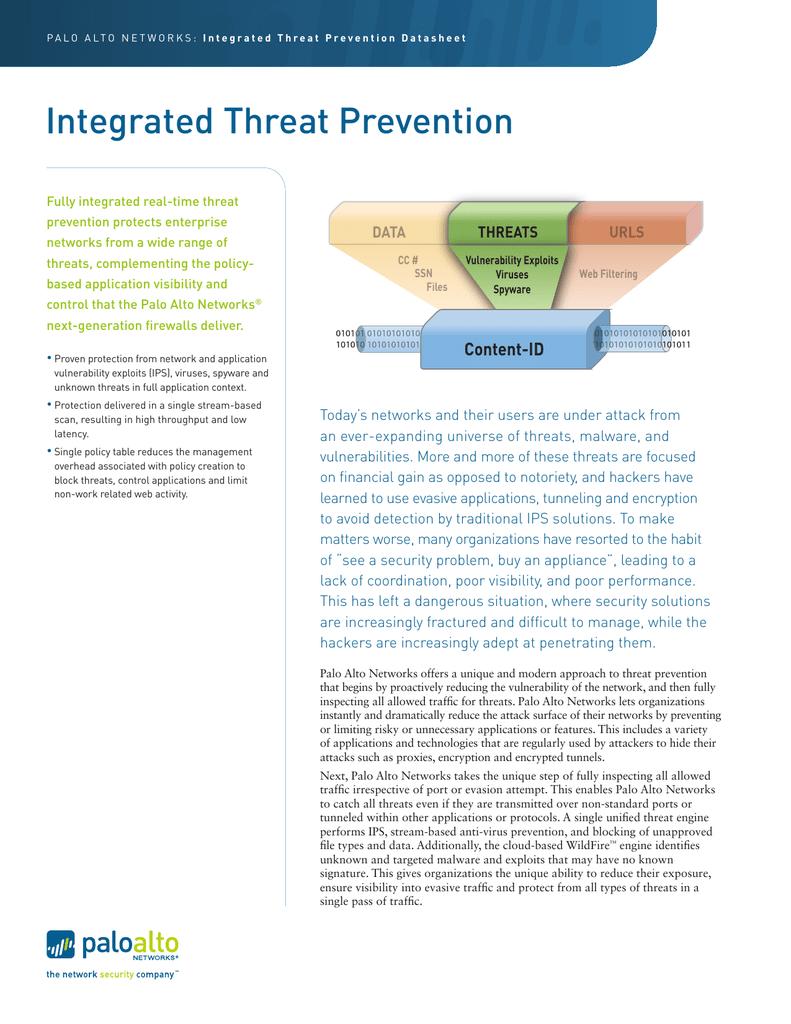 Integrated Threat Prevention - Palo Alto Networks   manualzz com