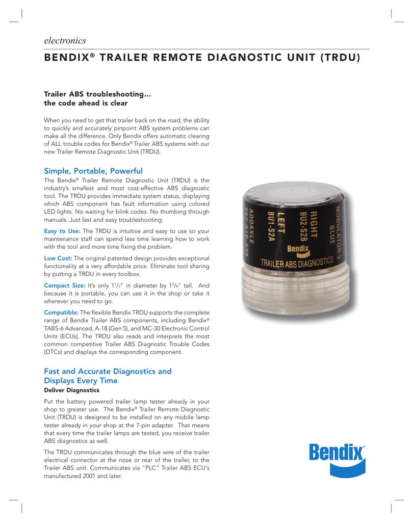 BENDIX® TRAILER REMOTE DIAGNOSTIC UNIT (TRDU) | manualzz com