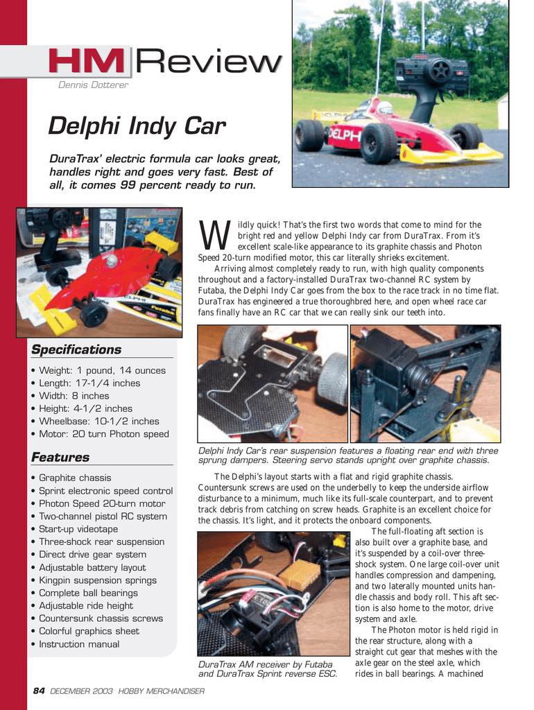 Delphi Indy Car - Hobby Merchandiser | manualzz com