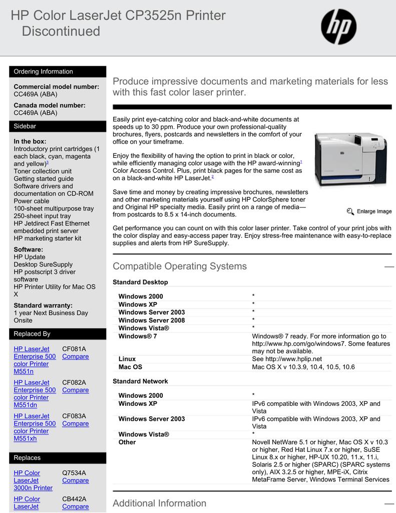 HP Color LaserJet CP3525n Printer Discontinued | manualzz com
