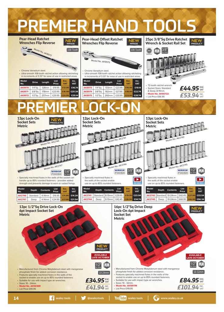 SEALEY Premier 8 Piece Hi Vis Screwdriver Set Flat Pozi /& Phillips HV001