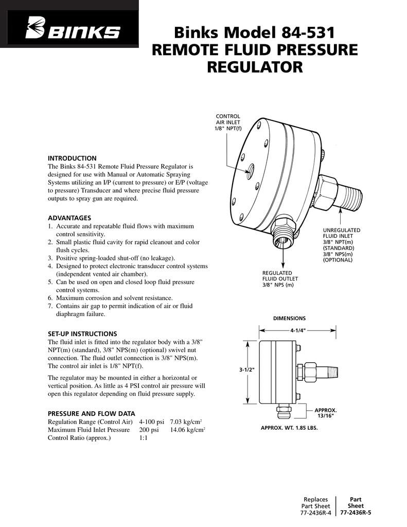 Binks Model 84-531 REMOTE FLUID PRESSURE REGULATOR