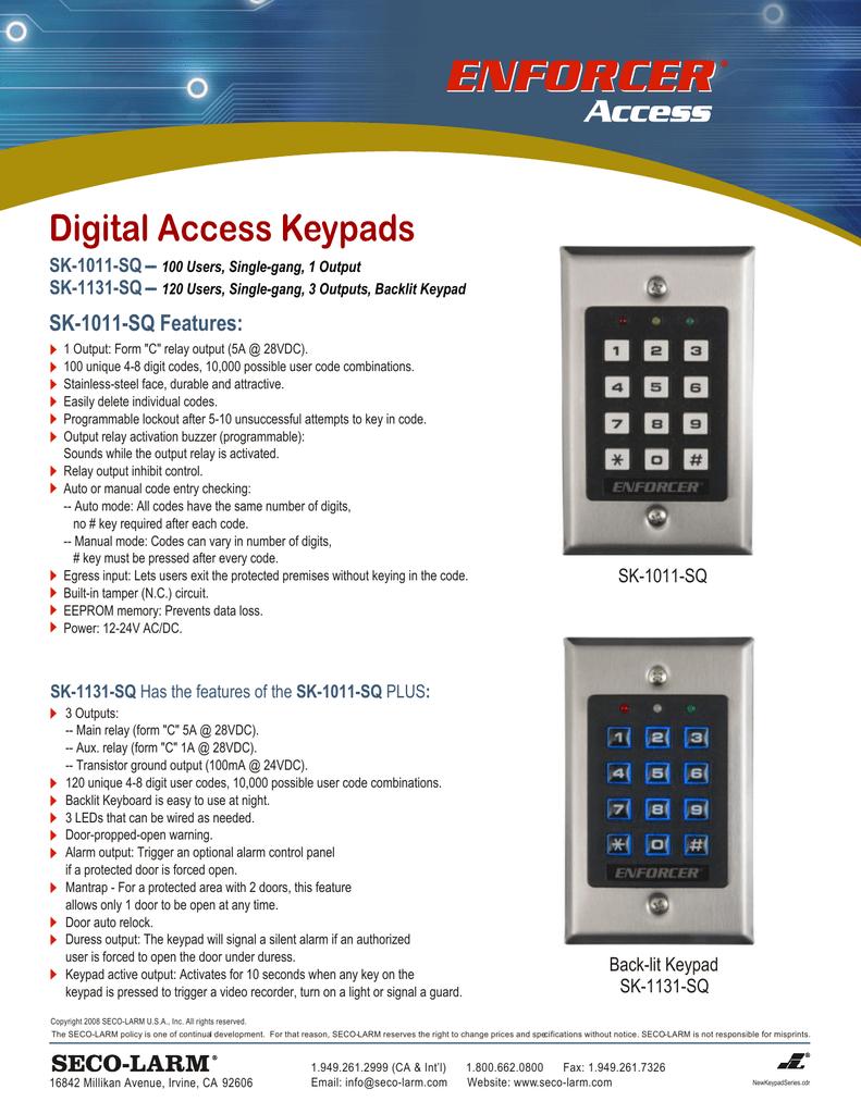 SK-1131-SPQ Seco-Larm Enforcer Access Control Keypad with Proximity Reader SECO LARM Backlit