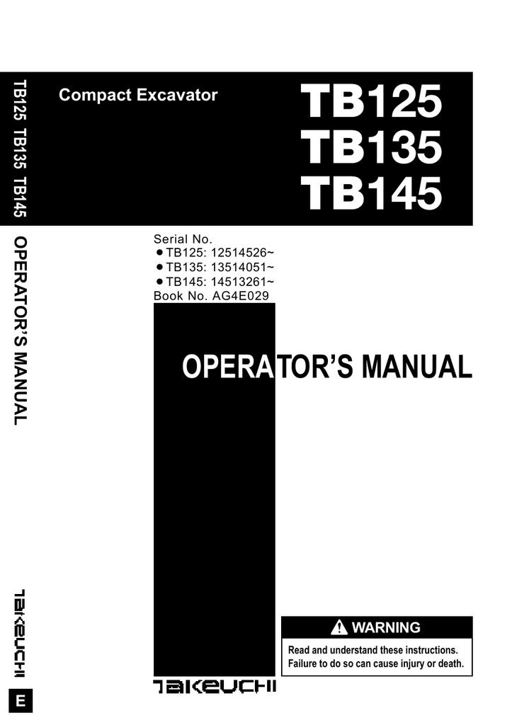 TB125 TB135 TB145 - Nationwide Equipment Ltd   Manualzzmanualzz