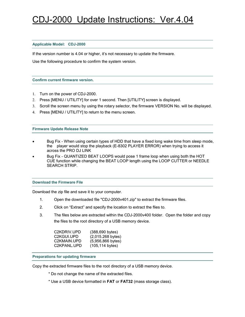CDJ-2000 Update Instructions: Ver 4 04   manualzz com